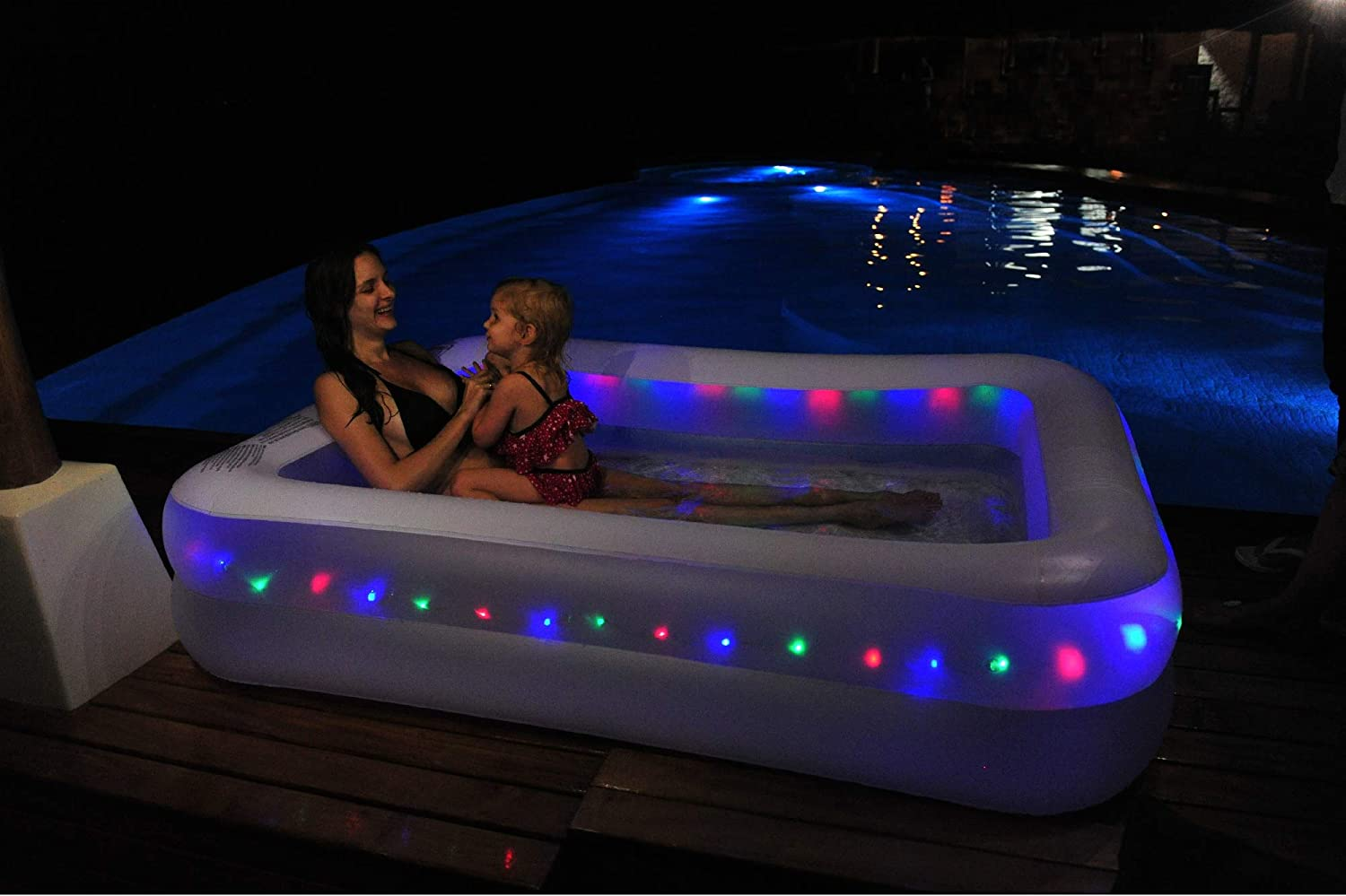 Bundle of Jilong Crystals Inflatable Led Lighted Rectangular Paddling Pool Water Fun for Kids and Family 79 x 59 x 20 /& Electric Air Pump Air Mattress Pump for Inflatables Pool Floats 3 Nozzles