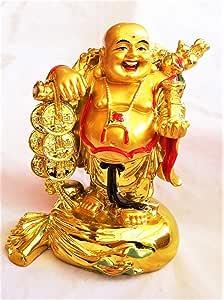 Buycrafty Fengshui يضحك تماثيل بوذا التماثيل منحوتات حمل حقيبة المال تمثال الله الثروة ديكور المنزل، محظوظ والسعادة، هدايا هووسورمينغ تهنئة