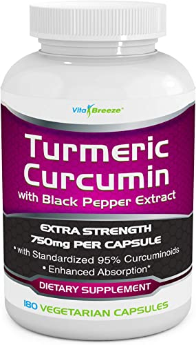 Turmeric Curcumin Complex with Black Pepper Extract – 750mg per Capsule, 180 Veg. Caps – Contains Piperine for Superior Absorption and Tumeric Bio-Availability and 95 Standardized Curcuminoids