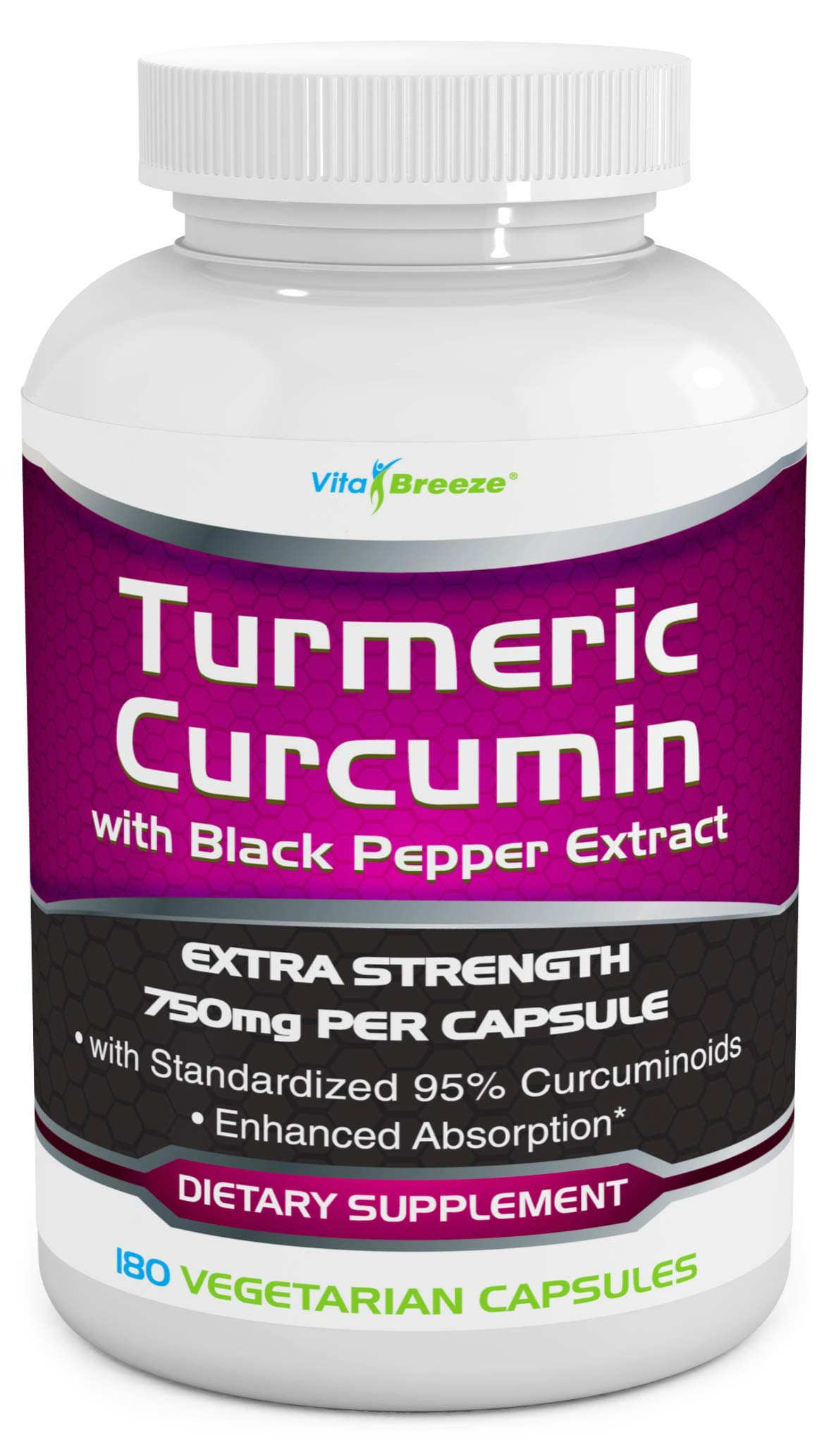 Turmeric Curcumin Complex with Black Pepper Extract - 750mg per Capsule, 180 Veg. Caps - Contains Piperine (for Superior Absorption and Tumeric Bio-Availability) and 95% Standardized Curcuminoids