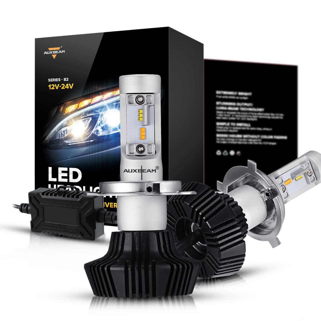 H4 Led Bulb Wiring Diagram Auxbeam Nf B2 Series Headlight Bulbs Bi Color Conversion Kit With 2 Pcs Of 50w 4000lm Philips Chips Hi Lo Beam