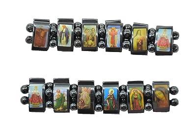 Saint Icons Hematite Bracelet Rosary,jesus, Ann Rita, Mary 2 pcs