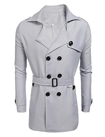 Caban Cooshional Coat Trench Printemps Jacket Homme Ceinture Avec prrt1nw