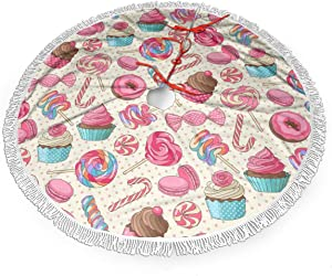 MSGUIDE 48 Inch Colorful Lollipop Candy Macaroon Cupcake Donut Christmas Decor Tree Skirt Large Polyester Tassel Xmas Tree Mat for Home Festive Holiday Decor