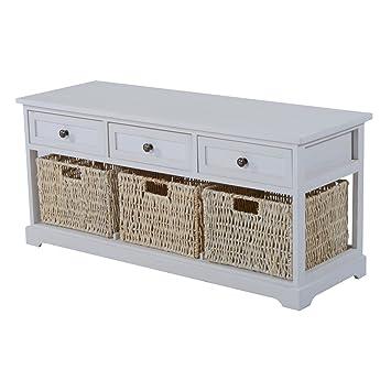 Homcom   Basket Storage Bench White