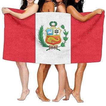 Bath Towels Toallas de baño Yinrunxnb Bandera del Perú Unisex Mujer Hombre Cómoda y Conveniente Multiusos