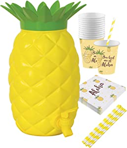 Island Genius Plastic Pineapple Drink Dispenser Party Pack, Hawaiian Luau Party Decoration Supplies