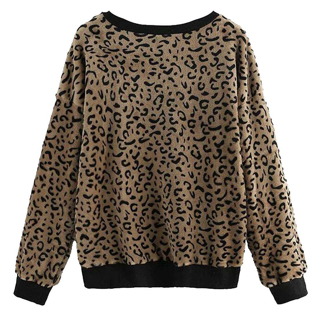 Pcutrone Women Loose Pullover Top Leopard Long-Sleeve Casual Sweatshirts