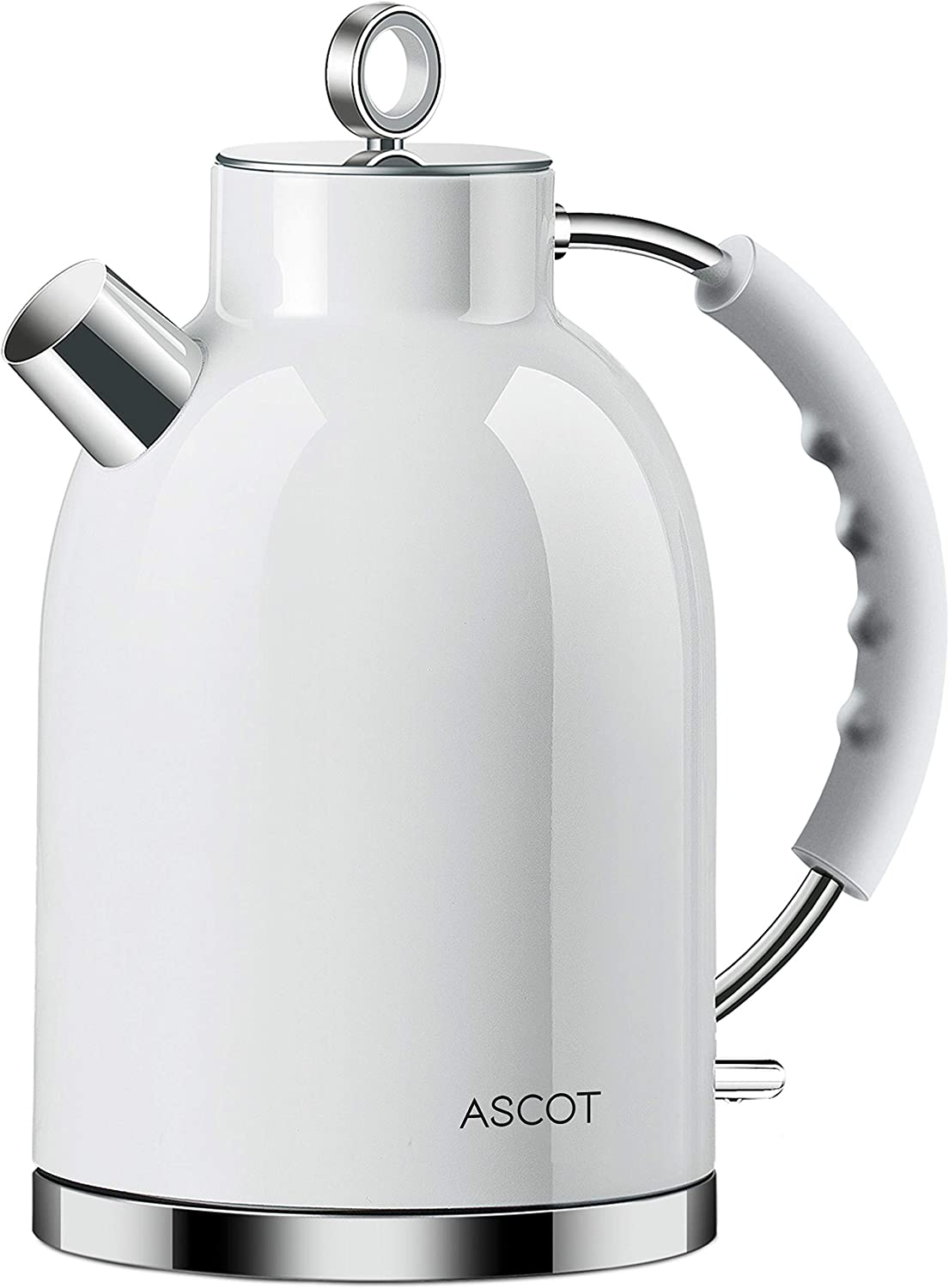 Electric Kettle, ASCOT Stainless Steel Electric Tea Kettle, 1.7QT, 1500W, BPA-Free, Cordless, Automatic Shut-off, Fast Boiling Water Heater - White: Kitchen & Dining