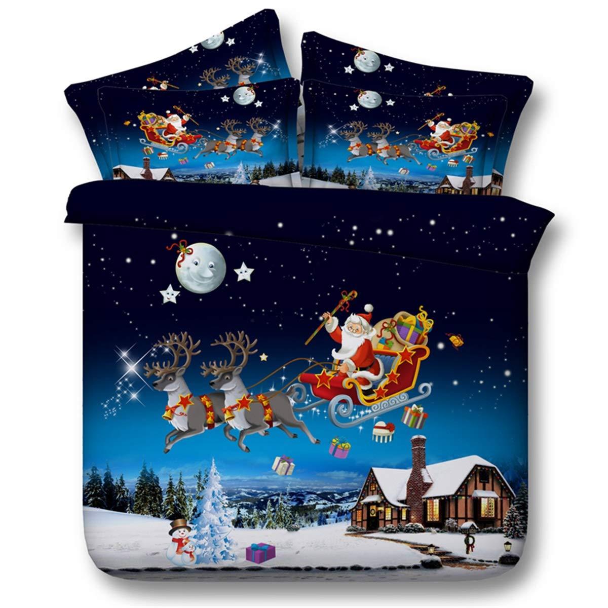 Santa Claus, die Geschenke auf einem Schlitten, dreiteilige Bettwäsche der Steppdecke der Abdeckung 3D gibt. (Farbe   Blau, Größe   150×200)