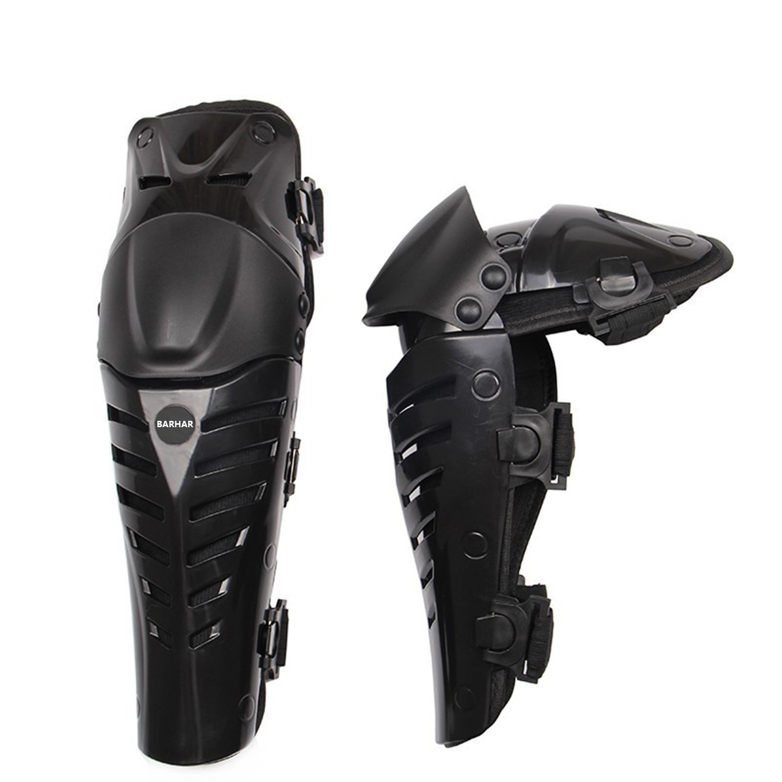 Cather Store 1 Pair of Adults Fashion Knee Shin Armor Protect Guard Pads Accessories with Plastic Cement Hook for Motorcycle Motocross Racing (Black)