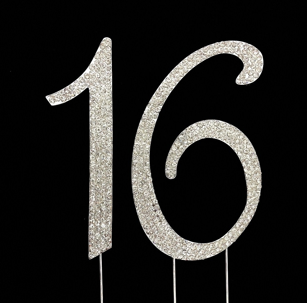 Number 16 for 16th Birthday or Anniversary Cake Topper Party Decoration Supplies, Sweet 16 Birthday, Silver, 4.5 Inches Tall CC-NRCT-2 16th Year Cake Topper