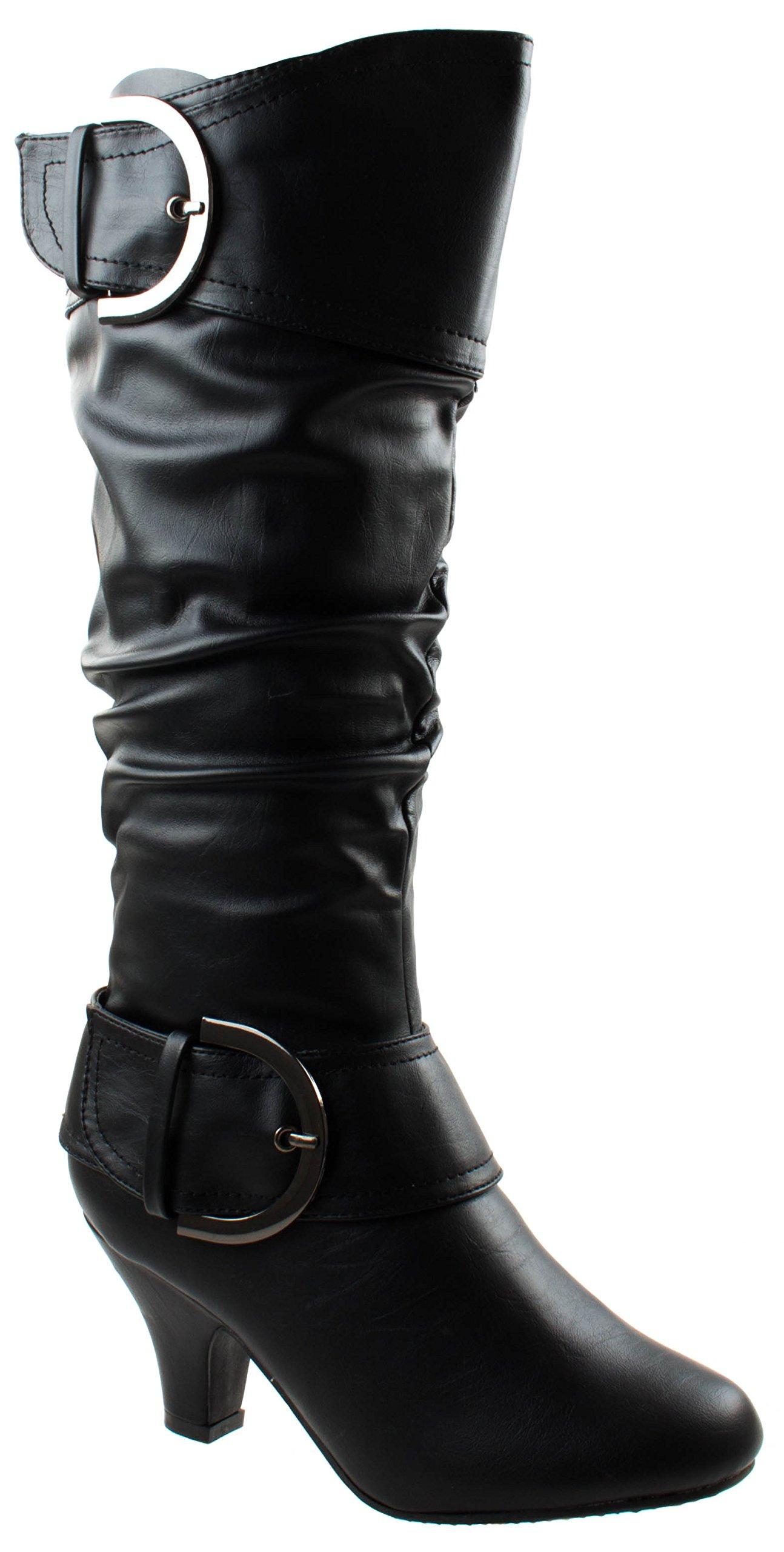 Top Moda Women's Auto-9 Black PU Round Toe Kitten Heel Mid Calf Boots with Buckle Decoration 5.5 D(M) US