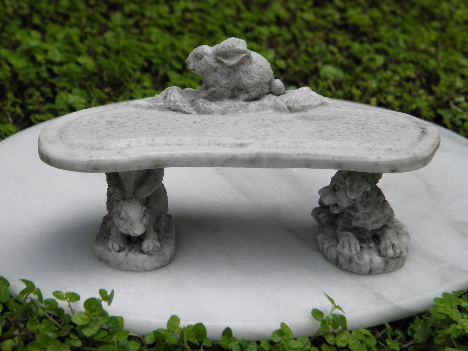 Miniature Dollhouse Fairy Garden Furniture Gray Resin Rabbit Bench