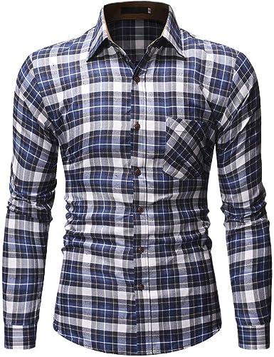 Innerternet-Camisa de Hombre, 5293 Camisa de Solapa de Manga Larga con Botones a Cuadros de Estilo empresarial para Hombres(Azul, S-XXL): Amazon.es: Ropa y accesorios