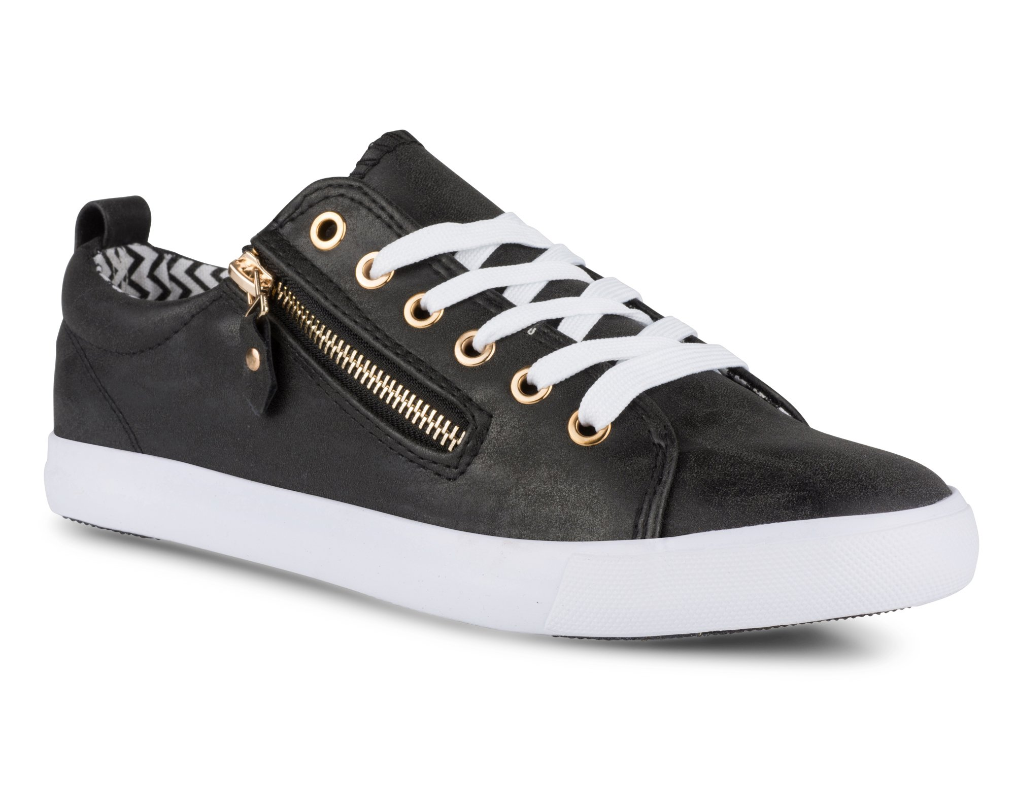 Twisted Women's Alley Faux Leather Fashion Sneaker with Decorative Zipper - ALLEY14 Black, Size 7
