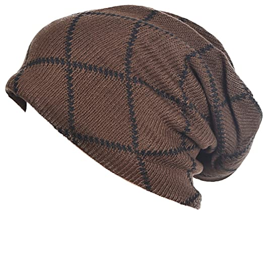 d7d8a910e3e FORBUSITE Slouchy Beanie for Men Knit Hat Oversized Skull Cap Winter Summer  Brown at Amazon Men s Clothing store