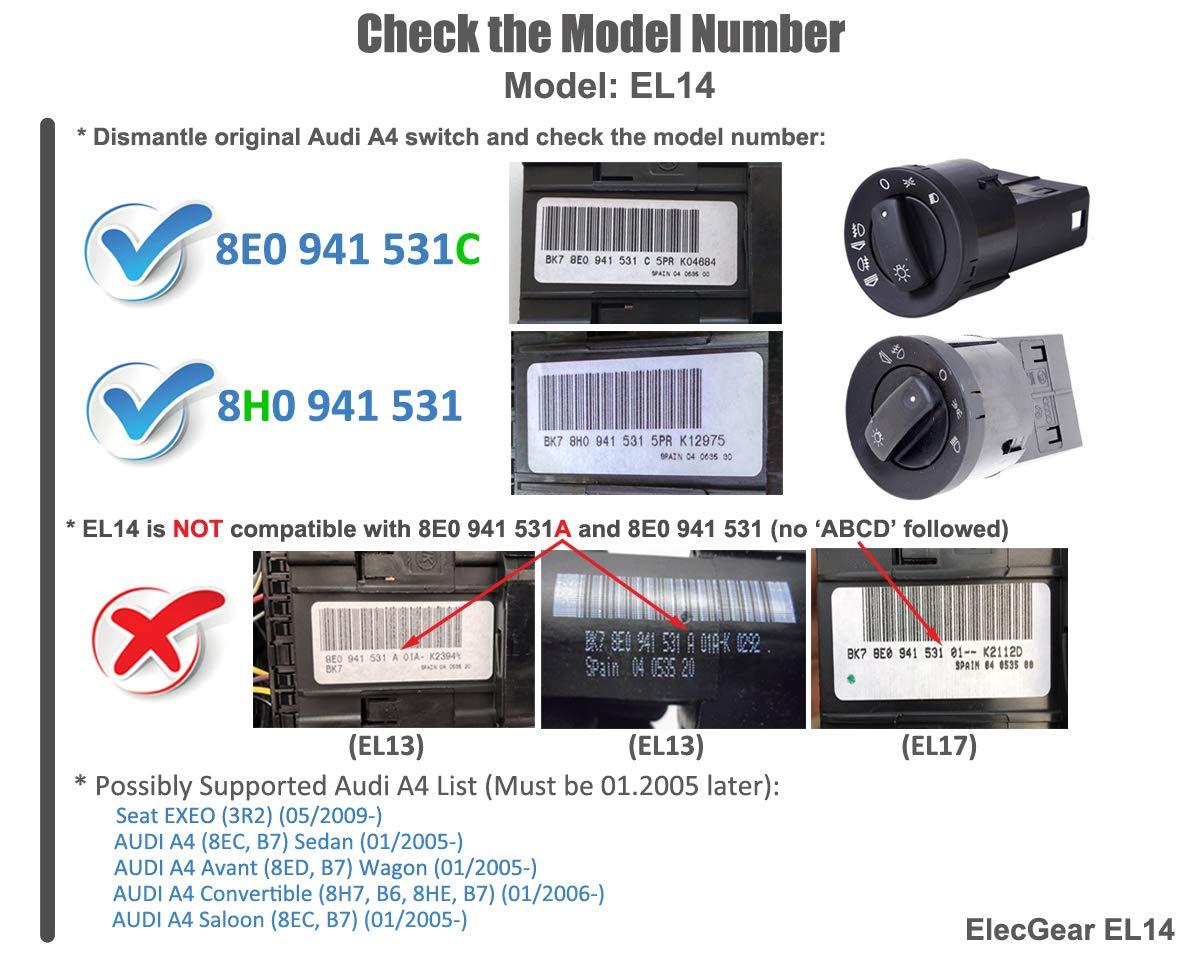 Replacement Headlamp Dimmer ElecGear EL17 Headlight Fog Light Auto Sensor Retrofit Switch Audi A4 B6 before 08//2004 with Bluetooth App Control Coming Leaving Home Module 8E0941531