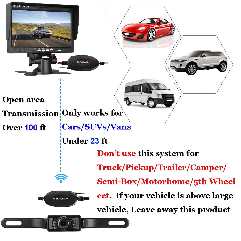 Leekooluu Wireless Backup Camera System For Car Suv Van Rv Trailer Wiring Side Diagram Pickup 7 Lcd Monitor Rear Front View Ip68 Waterproof Night