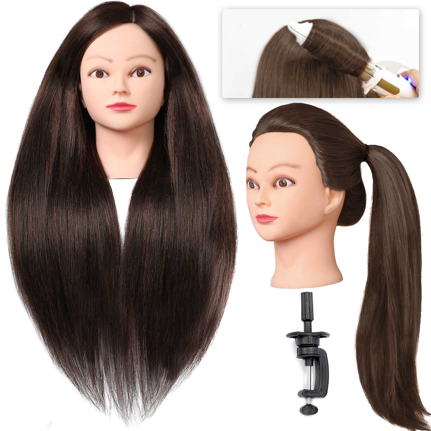 "SILKY #4 Mannequin Head with Human Hair 40% Brown 28"" Professional Bride Hairdressing Cosmetology Doll Head Training Head Free Stand holder"