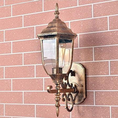 JLB Aplique de Exterior de Vidrio de Estilo Victoriano Europeo - Aplique de Pared de latón Antiguo Moderno para Exterior - Iluminación de Villa de jardín - Lámpara de Vidrio de Aluminio: