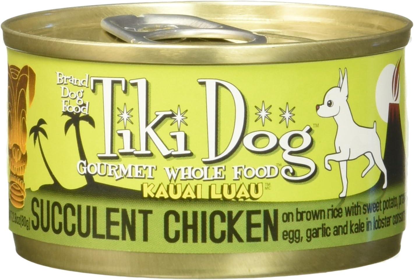 Tiki Dog Gourmet Whole Food 12-Pack Kauai Luau Succulent Chicken on Brown Rice with Sweet Potato, Tiger Prawns, Egg, Kale, Garlic in Lobster Consommé Pet Food