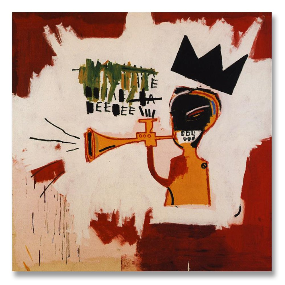 Jean-Michel Basquiat Original Graffiti Art Trumpet 1984 Canvas Paintings Hand Painted Reproduction Unframed Tablet - 48X48 inch (122X122 cm) for Living Room Bedroom Dining Room Wall Decor To DIY Frame