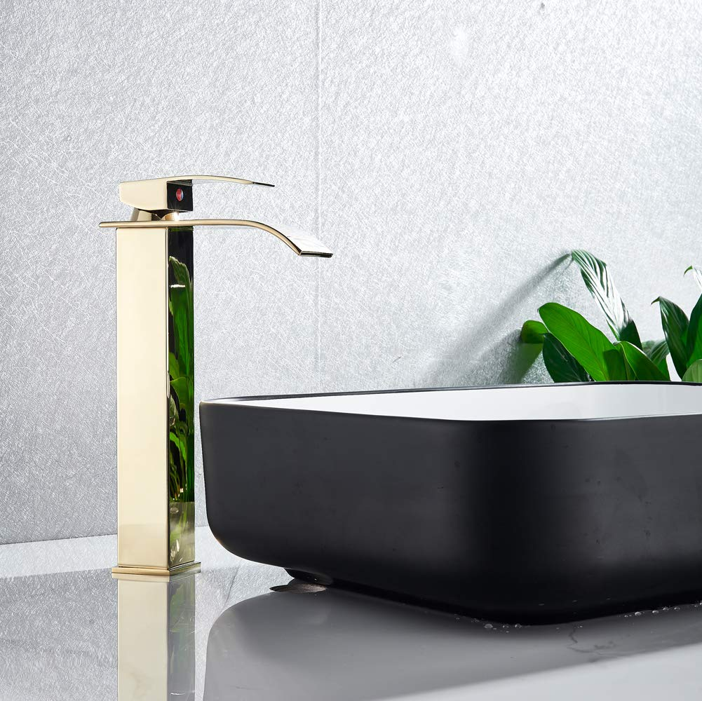 Votamuta Waterfall Spout Bathroom Tall Body Vessel Sink Faucet Deck Mounted Basin Mixer Tap One Hole with Pop Up Drain,Oil Rubbed Bronze Finish