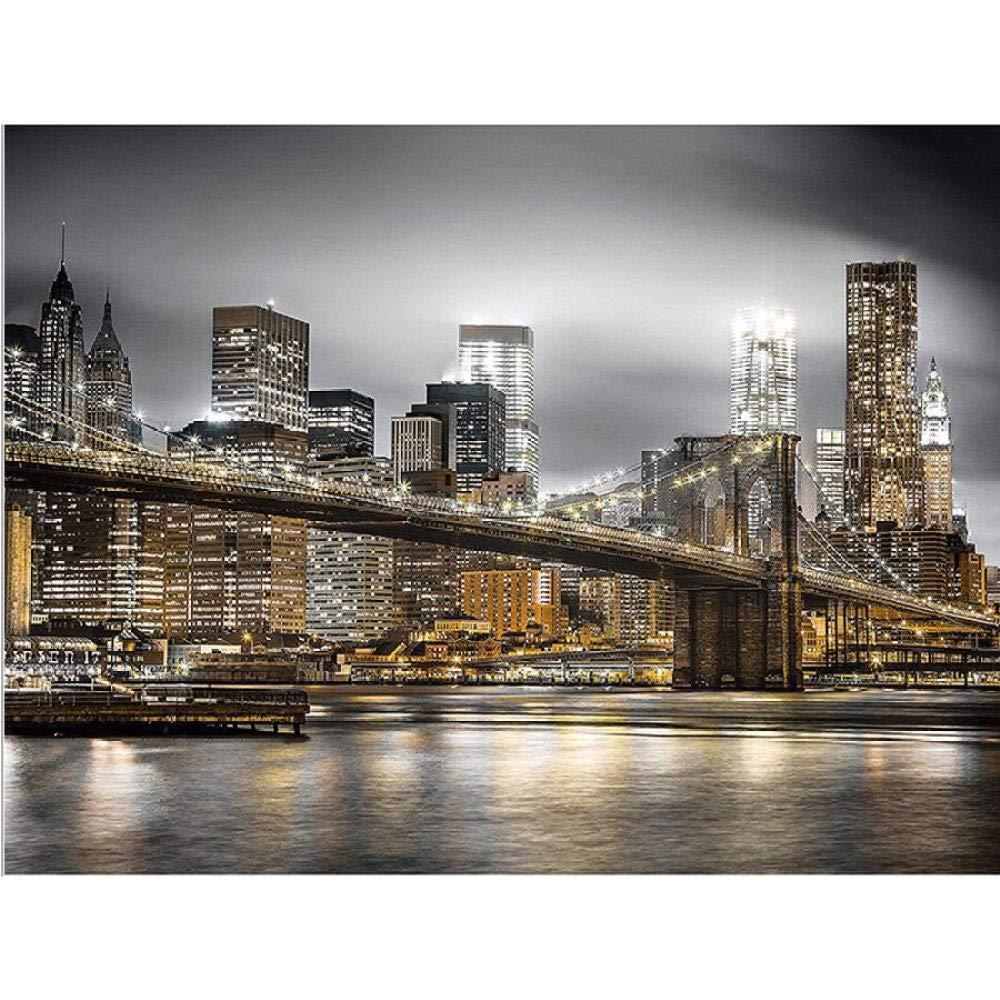 Msszsh 5D Diamond Painting Art Kits Full Round Drill Embroidery New York City Night Cross Stitch Rhinestone Mosaic Decoration 40X50Cm(15.5X19.5Inch)