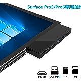 【新バージョン】Cateck Microsoft surface pro5/6 usb 3.0ハブ アダプター 6in1ドッキングステーション 2 USBカードリーダー 4K HDMI対応ミニDP + SD/Micro SDカードリーダー + 3 USB 3.0 ポート付き マルチ変換アダプタ 永久保証