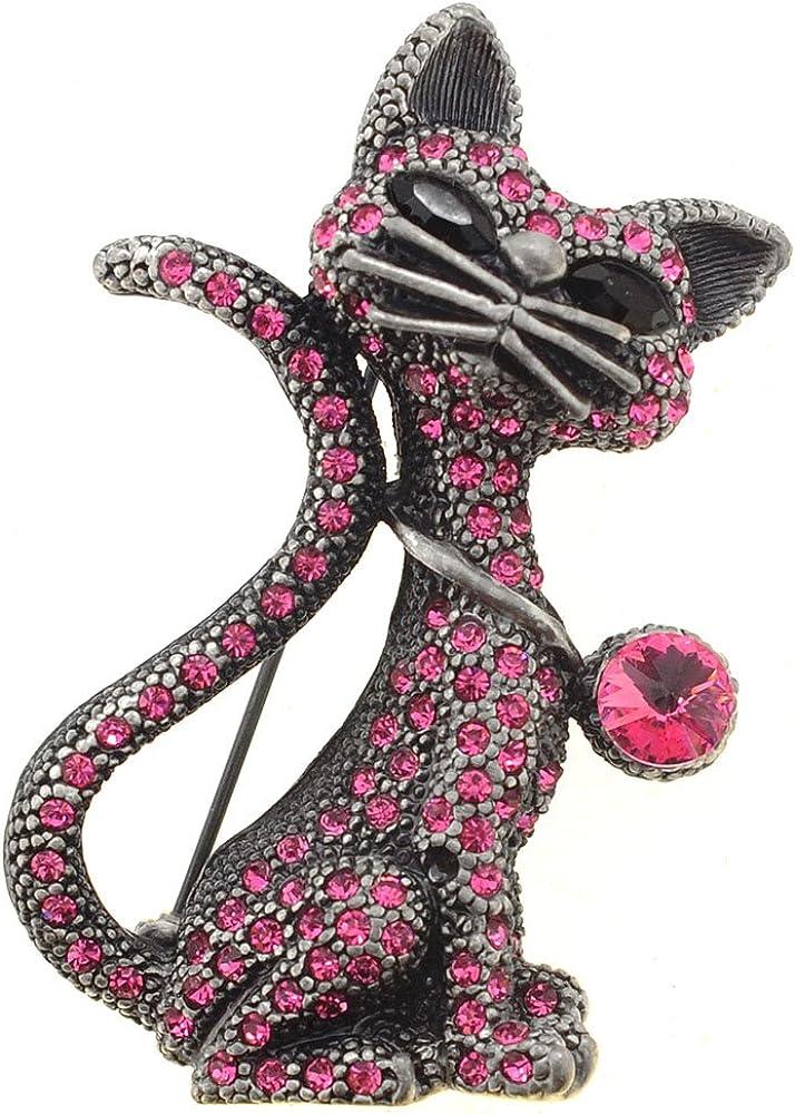 Fantasyard Vintage Fuchsia Cat Pin Brooch