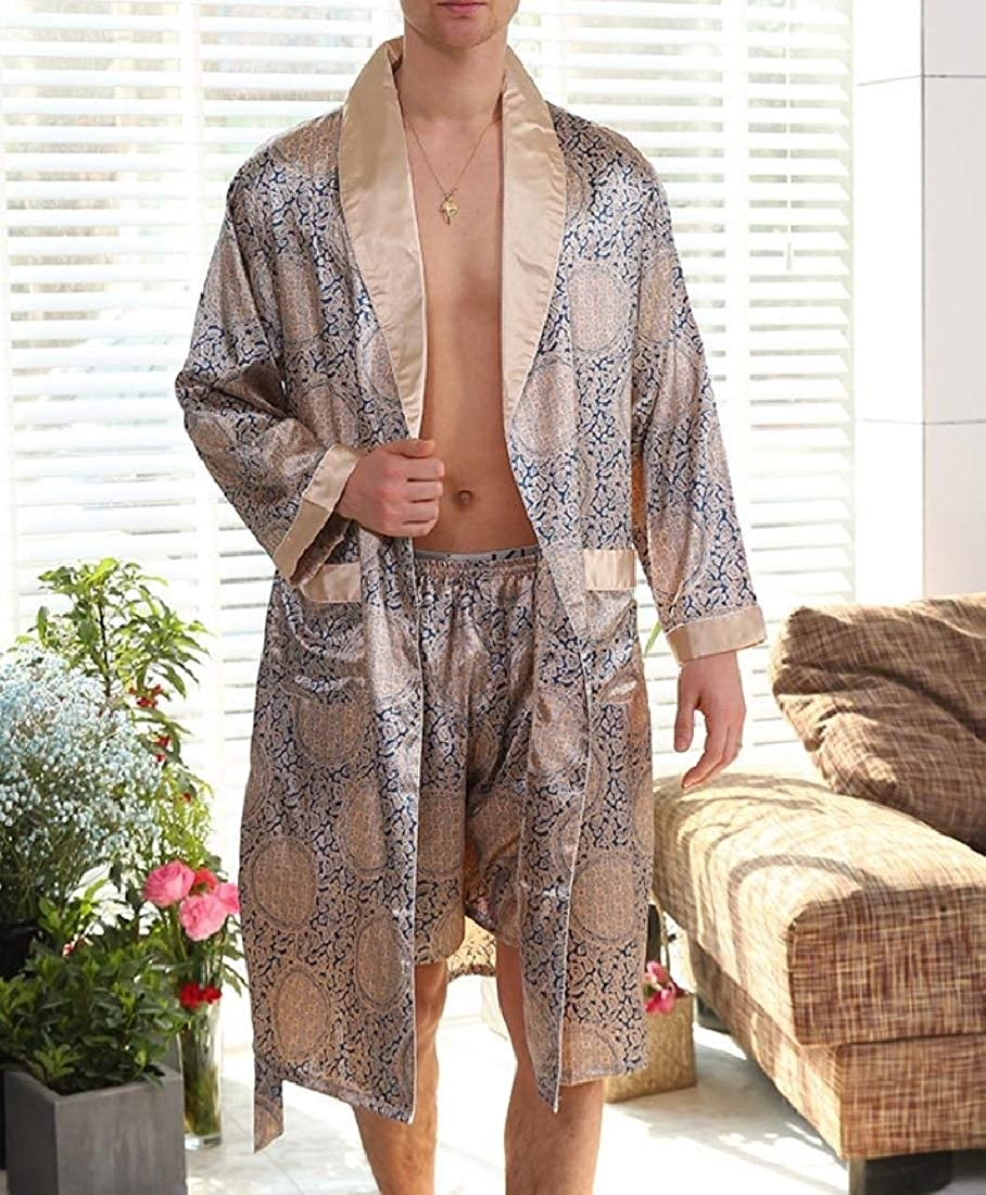 Againg Mens Bathrobe Comfort Casual Silk Plus Size Sleepwear Nightgown
