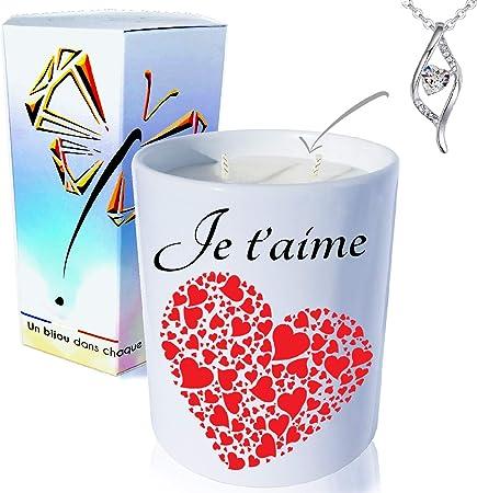 Bougie Bijoux • Pomme d'Amour • Cristal de SWAROVSKI éléments pour Femme •  Ambiance de fête d'anniversaire et Noël • Coffret Cadeau (Pendentif Coeur  ...
