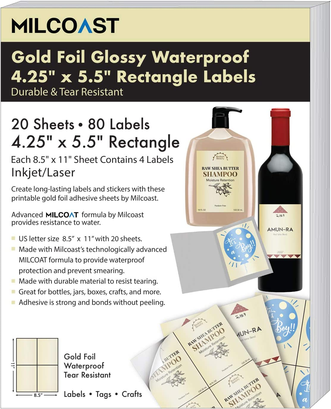 20 Sheets Milcoast Gold Foil Glossy Waterproof Tear Resistant Adhesive 4.25 x 5.5 Rectangular Labels for Inkjet//Laser Printers 80 Labels