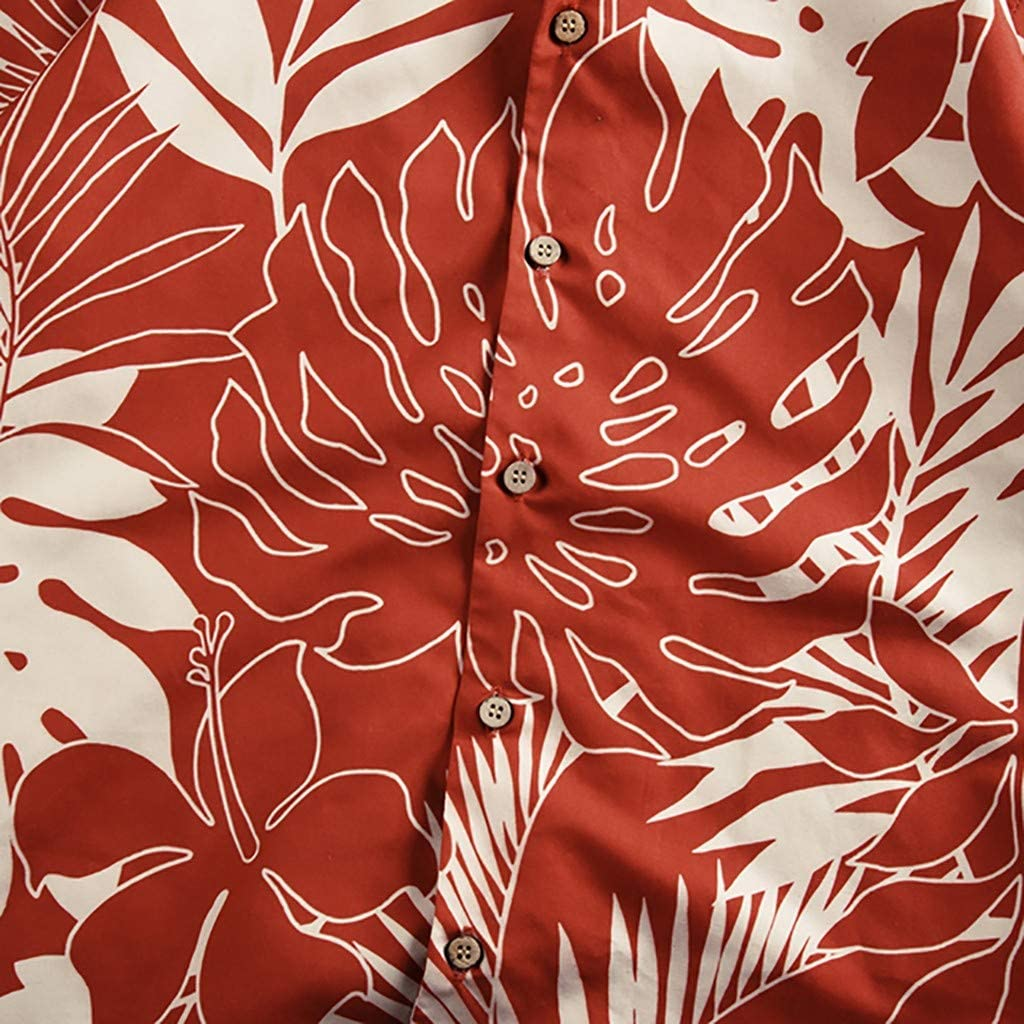 Men Hawaiian Shirt Tropical Forest Regular Fit Button Down Collar Shirt Summer Tops