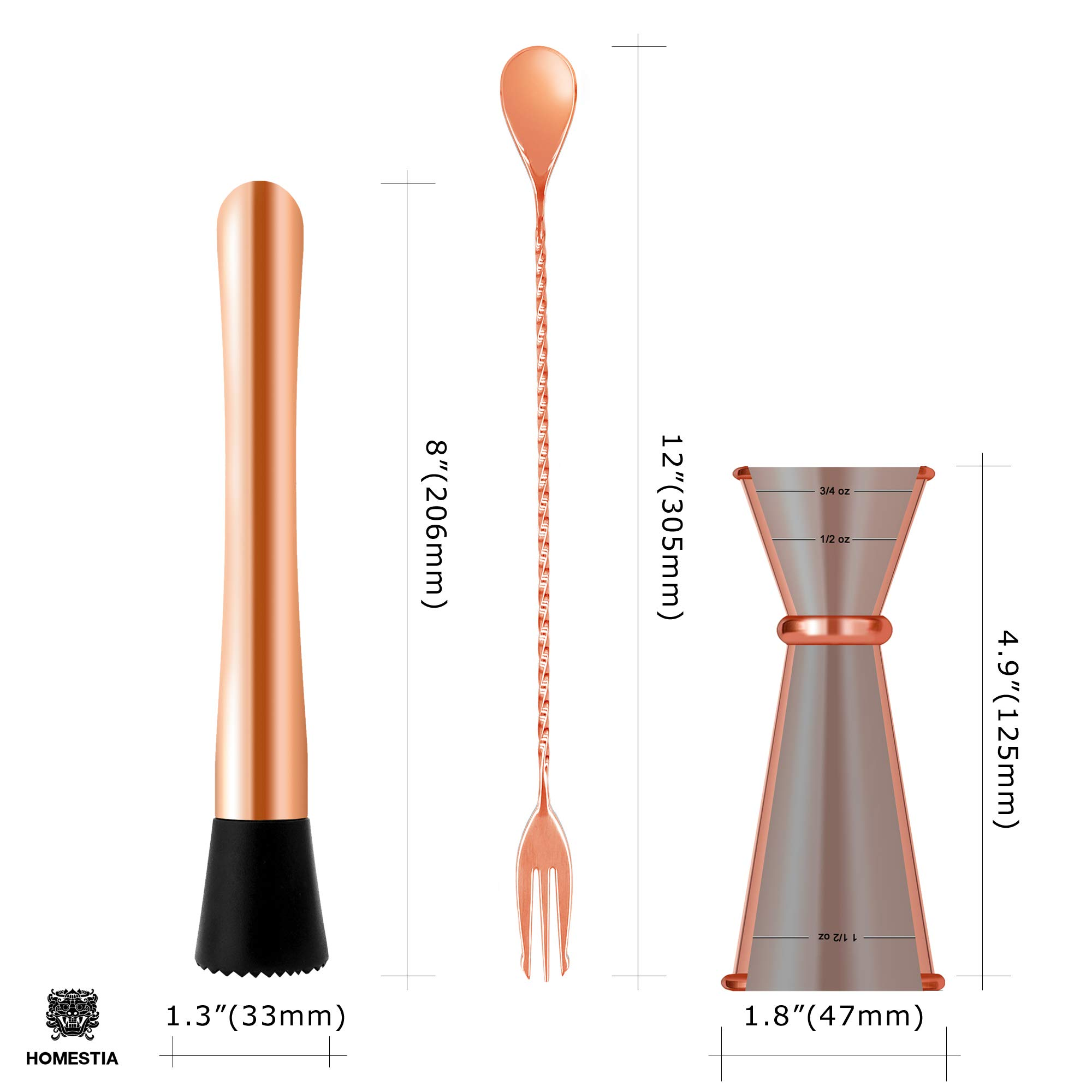 Homestia 3 PIECE Muddler Set Stainless Steel Cocktail Muddler with Double Jigger, Bar Spoon Mojito Bar Tool Copper by Homestia (Image #6)