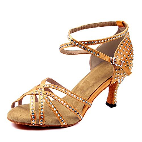 746ea9a8 SUKUTU Zapatos de Baile de salón con Diamantes de imitación para Mujer  Señoras Salsa Latina Tango Correa Cruzada Zapatos de Boda de satén:  Amazon.es: ...