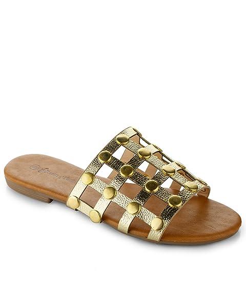 b6008dc56e9f0e RF ROOM OF FASHION Women s Slip On Studded Caged Slide Sandals Gold ...