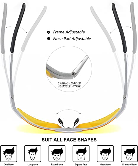 Lunettes de soleil de sécurité anti-reflets pour le conducteur de Vision C7E0