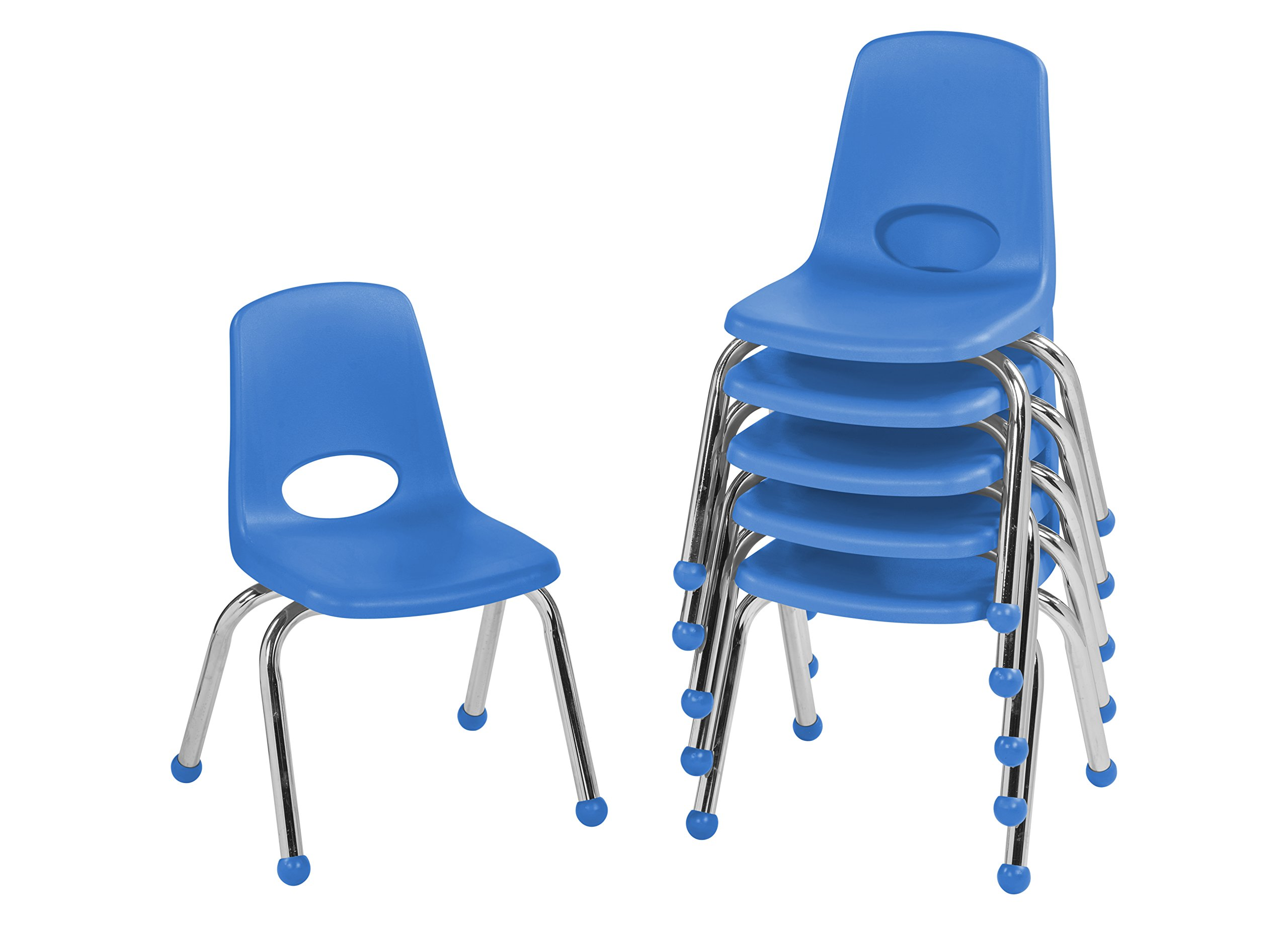 ECR4Kids 12'' School Stack Chair, Chrome Legs with Ball Glides, Blue (6-Pack)
