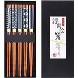 GLAMFIELDS Bamboo Chopsticks Reusable Japanese Style Lightweight 5 Pairs Ramen Chop Sticks Case Gift Set