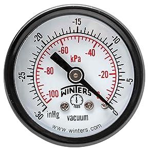 """Winters PEM Series Steel Dual Scale Economy Pressure Gauge, 30""""Hg Vacuum/kpa, 1-1/2"""" Dial Display, +/-3-2-3% Accuracy, 1/8"""" NPT Center Back Mount"""
