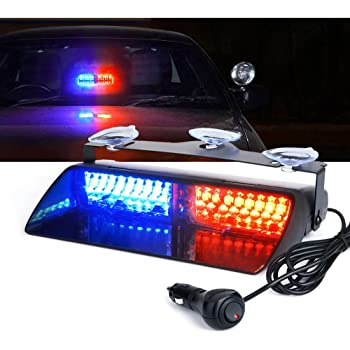 Xprite red blue 16 led high intensity led law enforcement emergency hazard warning for Interior car light laws california