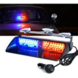Xprite 16 LED High Intensity Red Blue Windshield Dash Emergency Strobe Lights w/Suction Cups for Police Law Enforcement…