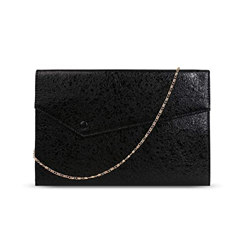 f5d763a24707 Gessy Cluthes Purse for Women Party Black PU Leather Shining and Pleated  Flap Handbag Wedding Wallet