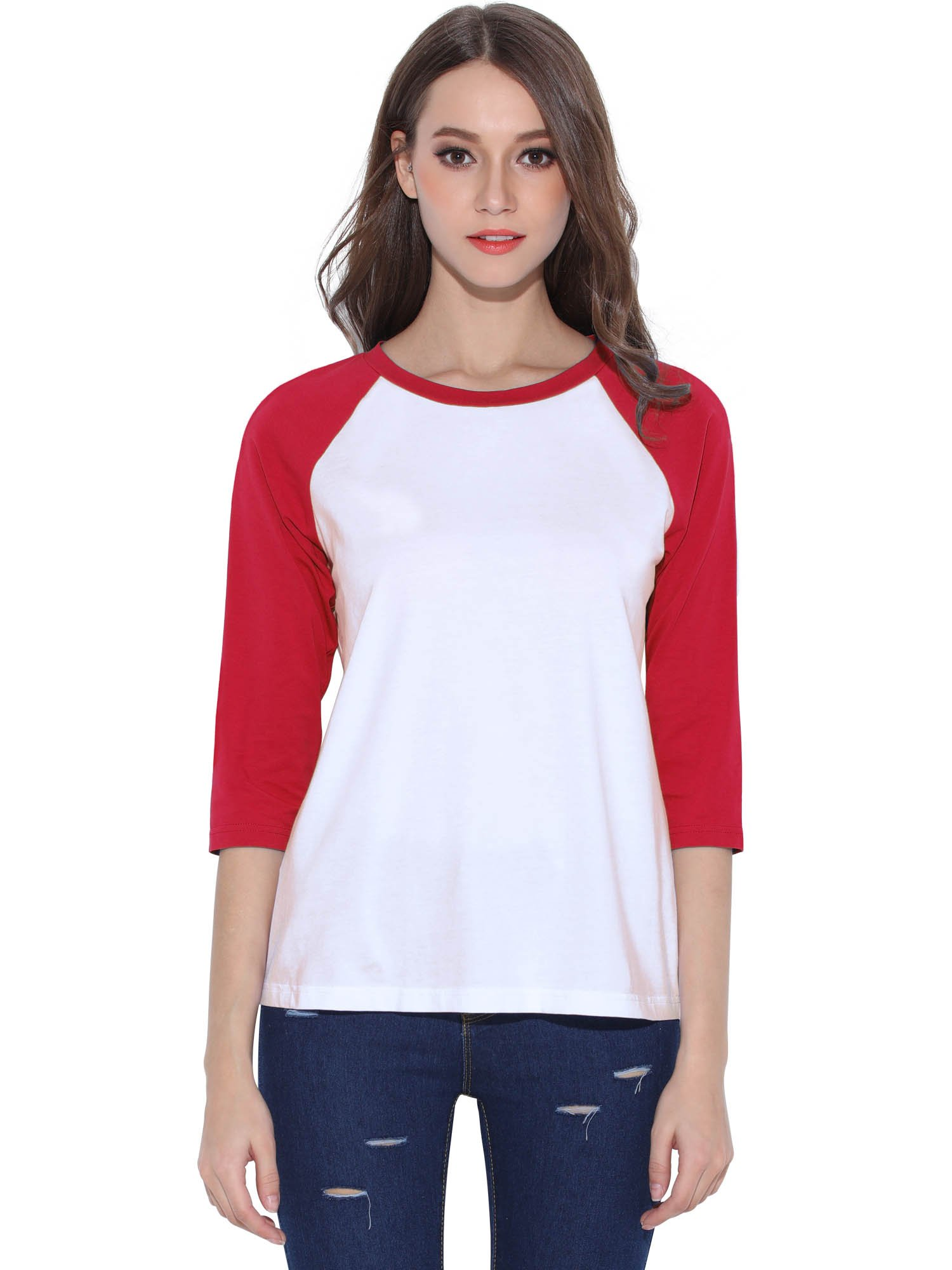 HUHOT Cotton Crew Neck 3/4 Sleeve Jersey Shirt Baseball Tee Raglan T-Shirts Medium Red
