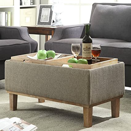 Storage Ottoman Coffee Table Modern Eco Friendly With Reversible Tray Tops