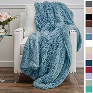 The Connecticut Home Company Luxury Shag Bed Throw Blanket, Queen, Full Size, 90x90, Super Soft, Large Wrinkle Resistant Reversible Blankets, Warm Hypoallergenic Washable Throws for Beds, Slate Blue