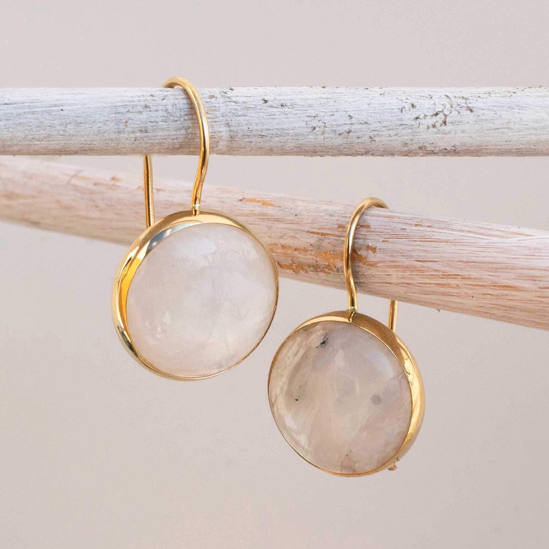 Natural Moonstones Moonstone Earrings Sterling Silver Earrings and Gold Platted Antique Handmade Earrings