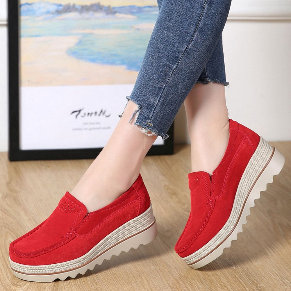 100% authentic 4af97 aa964 ... T-JULY Women s Loafers Shoes Mid Mid Mid Wedge Round Toe Casual Suede  Platform B07BT3BVLV ...